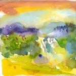 colorful wet-on-wet treatment of Hadlock Park and some of the painters.