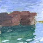 Pier pilings - drawn *last* year with watercolor pencil, painted at home with acrylic