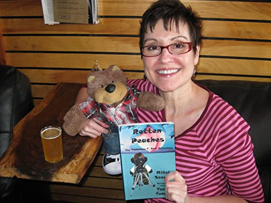 Proud authors Mitzi Szereto and Teddy Tedaloo with their new book Rotten Peaches (The Thelonious T. Bear Chronicles)