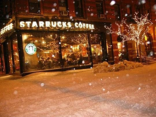 starbucks in the snow: