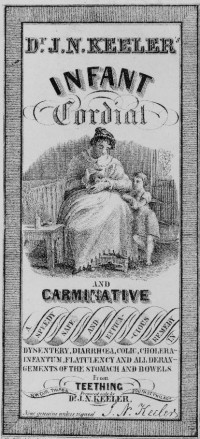Although I do not know the specific ingredients of this, typical infant cordials had a great deal of opium. As opium sank to the bottom, a dose at the end of the bottle would prove to be much stronger than doses given from the top of the bottle. Due to this, caregivers could unintentionally and suddenly overdose an infant. Image credit: Library of Congress 91720054.