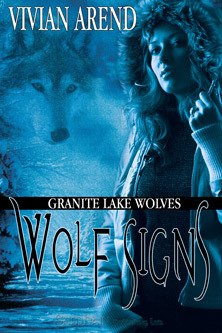 Wolf Signs cover- winter scene, woman in parka, wolf in background
