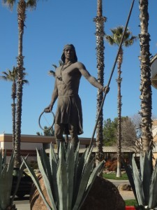 Sculpture of an Apache Warrior greets visitors to the San Carlos tribe's casino