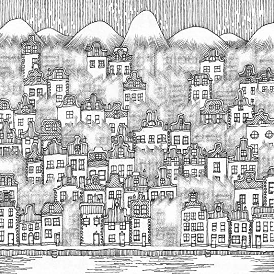 the book, City and the City, by China Mieville. drawing byWarwick Mihaly.: