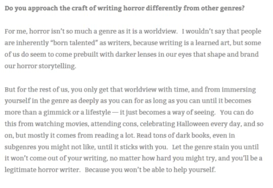 A clip from my interview on the StokerCon blog about the workshop.