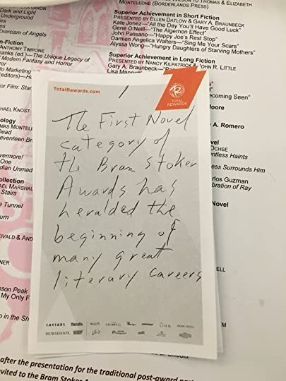A stolen shot of Maria's notes for the First Novel award presentation. (Amen, it speaks the truth!)