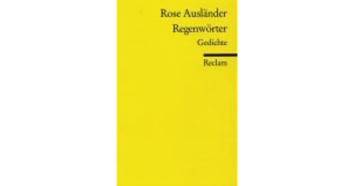 Regenwörter By Rose Ausländer