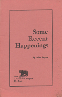 Some Recent Happenings by Allan Kaprow