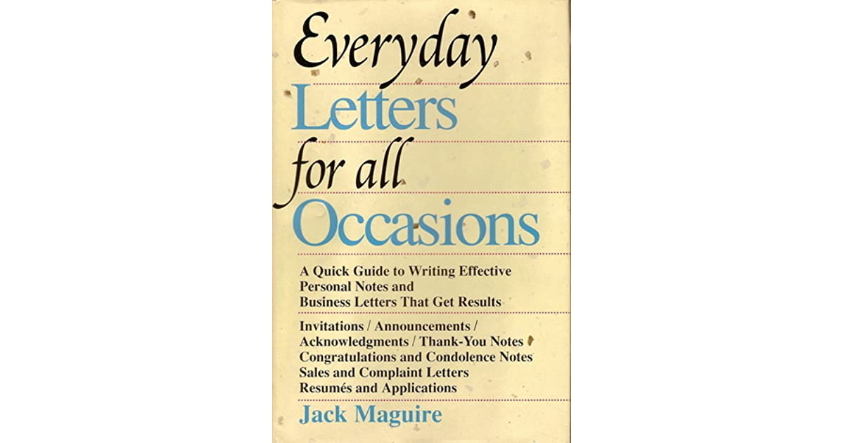 Everyday letters for all occasions by jack maguire expocarfo Image collections