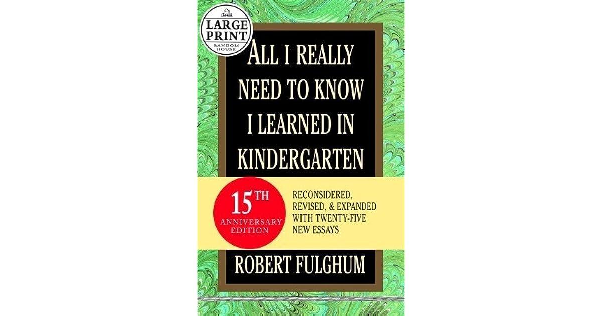 fulghum kindergarten essay