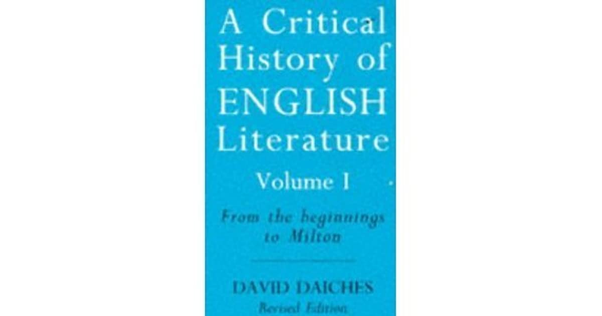 david daiches a critical history of english literature