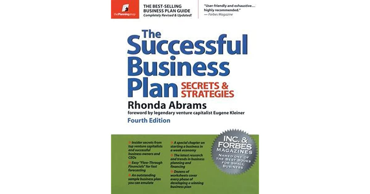 The Successful Business Plan Rhonda Abrams Pdf