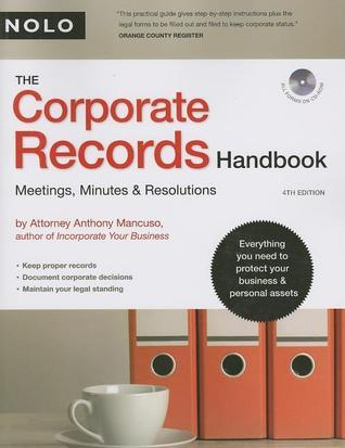 The Corporate Records Handbook  Meetings, Minutes & Resolutions, 6th edition