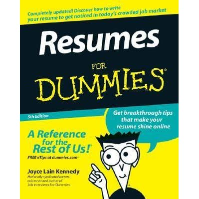 resumes for dummies by joyce lain kennedy - Resumes For Dummies