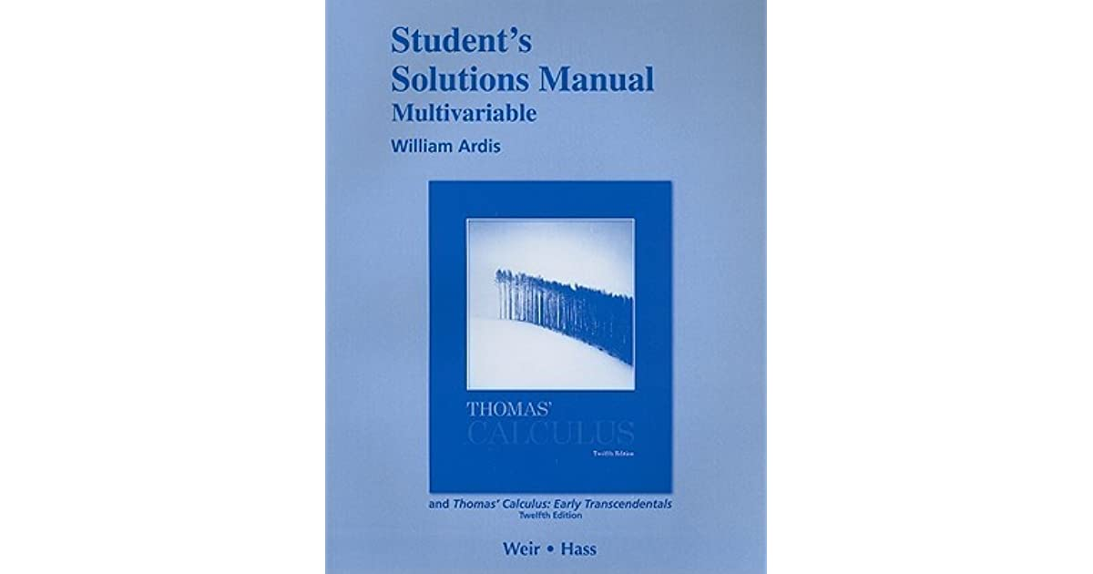 Student Solutions Manual Multivariable For Thomas