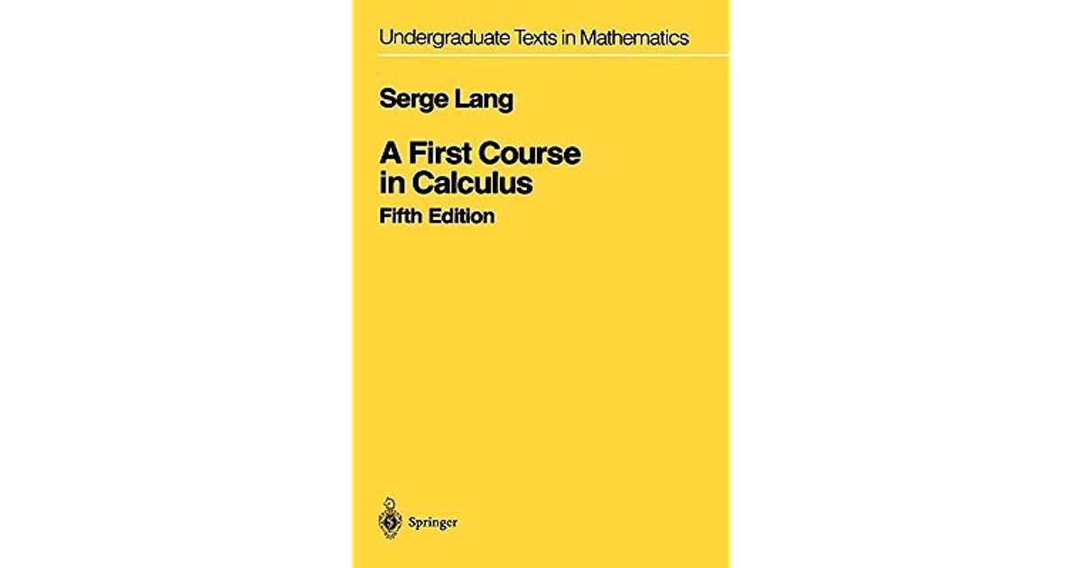 a first course in calculus serge lang pdf download
