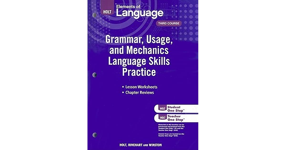 Elements of language grammar usage and mechanics language skills elements of language grammar usage and mechanics language skills practice grade 9 by holt rinehart and winston inc fandeluxe Image collections