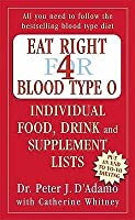 Eat Right for Blood Type O: Individual Food, Drink and Supplement lists (Eat Right for Your Type)