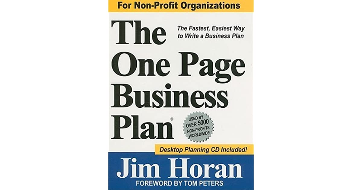 One page business plan jim horan pdf to excel