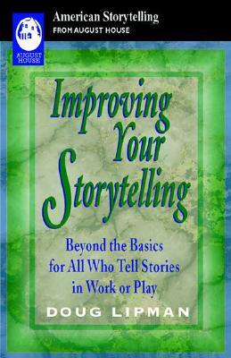 The cover of the book 'Improve your storytelling' by Doug Lipman. Green marbled background with a black banner at the top from American Storytelling