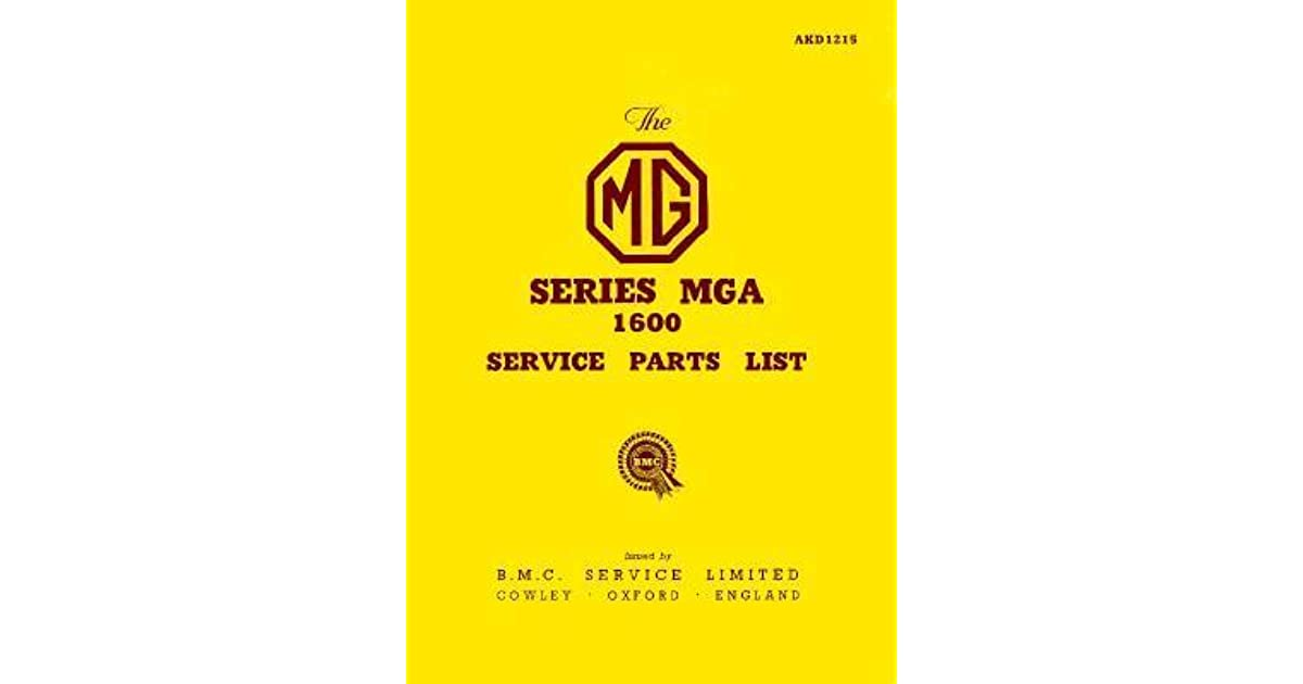 MGA 1600 COPY of Original Factory Parts Book # AKD1215