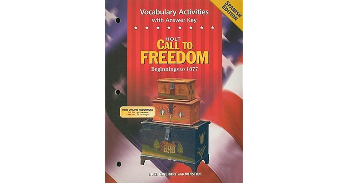Holt Call To Freedom Vocabulary Activities With Answer Key