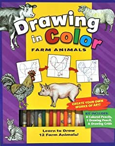 Drawing in Color: Farm Animals [With Drawing Pencil, 8 Colored Pencils]