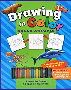 Drawing in Color: Ocean Animals [With Drawing Pencil, 8 Colored Pencils]