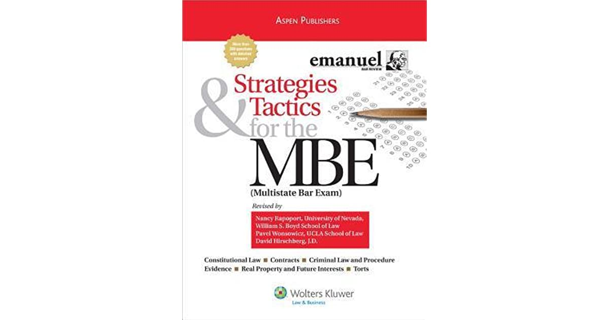 Strategies & Tactics for the MBE: Multistate Bar Exam by