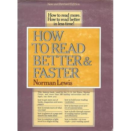 how to read better and faster by norman lewis pdf