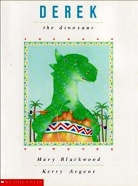 Children's book cover for Derek the Knitting Dinosaur by Mary Blackwood for 18 children's books to teach children about social issues