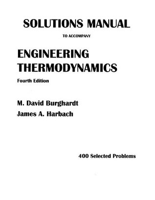 Solutions Manual To Accompany Engineering Thermodynamics