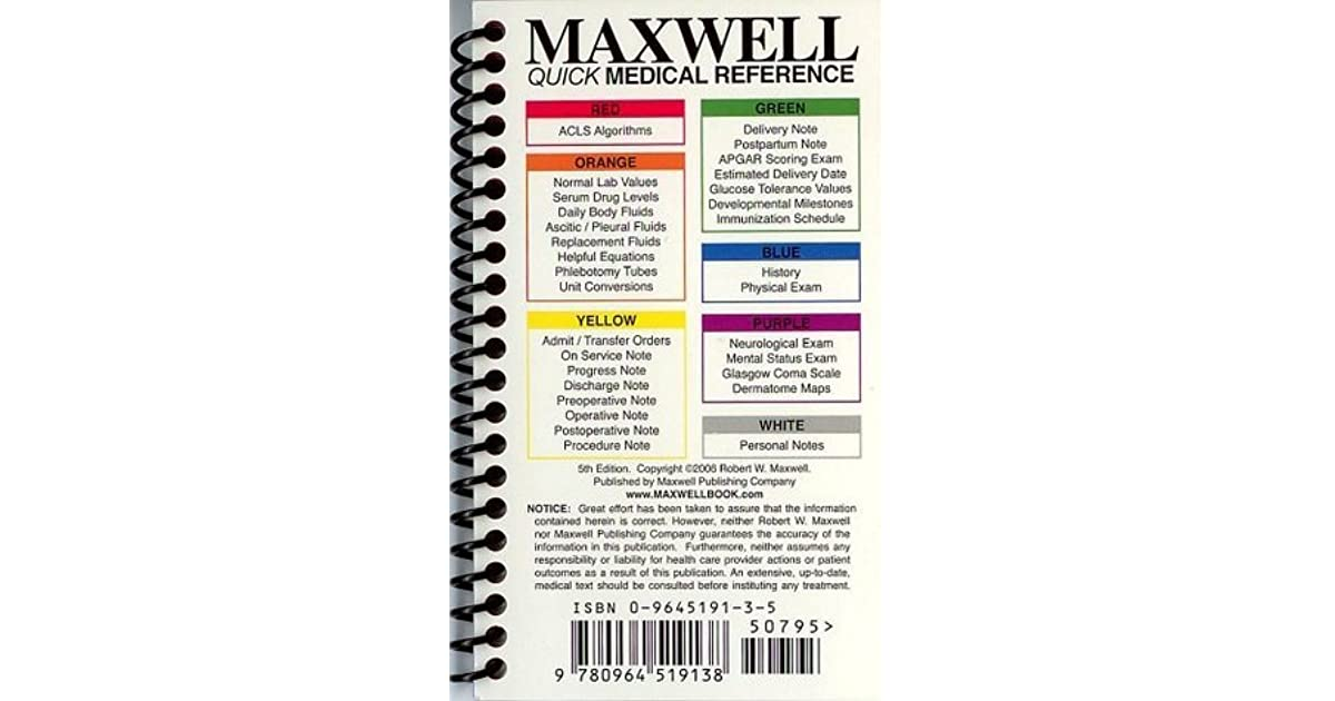 Maxwell quick medical reference by robert w maxwell fandeluxe Image collections