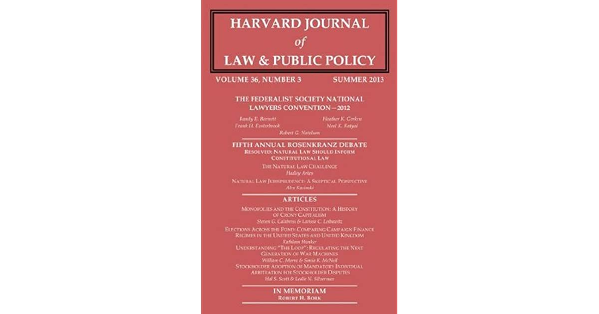 Harvard Journal of Law & Public Policy, Volume 36, Issue 3