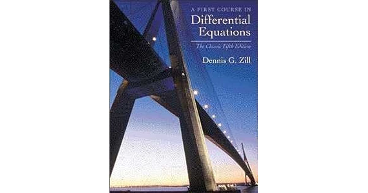 A First Course In Differential Equations The Classic Fifth