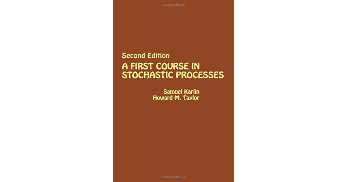 Karlin Taylor Stochastic Processes Pdf