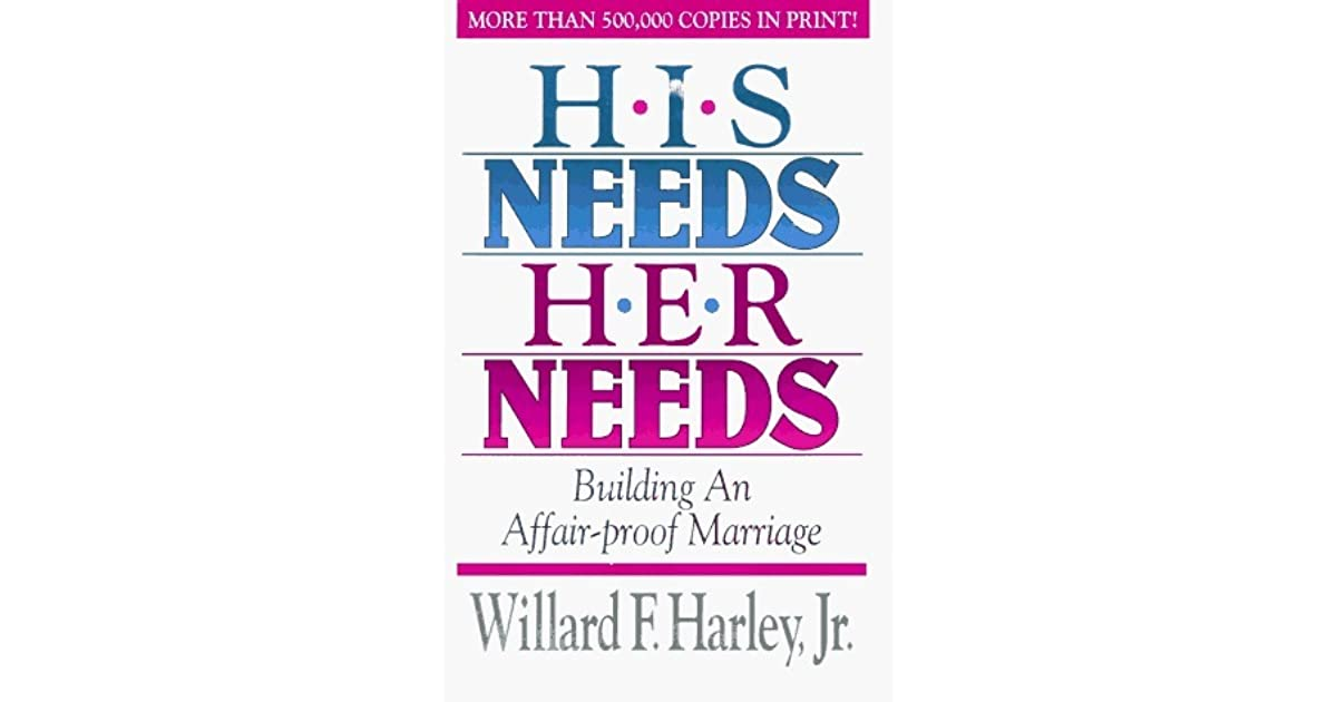 his needs her needs In the classic bestseller his needs, her needs, willard f harley, jr, identifies the ten most vital needs of men and women and shows husbands and wives how to satisfy those needs in their spouses he provides guidance for becoming irresistible to your spouse and for loving more creatively and.