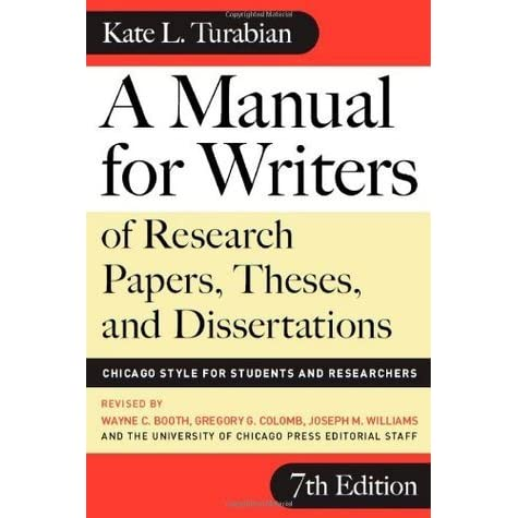 kate turabian research papers A manual for writers of research papers, theses,  editions of kate l turabian's a manual for writers edition year editor(s) corresponding cmos edition.
