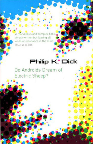 Book cover for Do Androids Dream of Electric Sheep with a pixelated sheep on the front