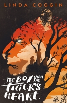 A cover witht the silhouette of a tiger. Within its shape isa bright orange sky background, with black tree branches that form the tiger's stripes