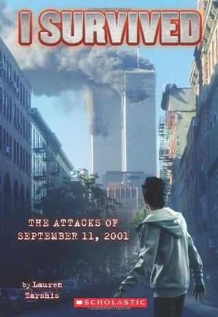Picture of a boy watching the World Trade Center towers burn and smoke on September 11. (Cover of book)