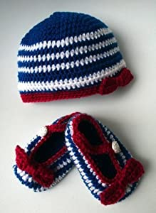 French nautical beanie and baby booties set (53) (crochet sets)