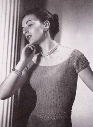 Off The Shoulder Evening Blouse Top Sweater Vintage Knit Knitting Pattern sizes 12 through 20 EBook Download