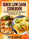 Quick Low Carb Cookbook: 37 Delicious Low Carb Recipes In 15 Minutes Or Less (Low Carb Cookbooks)
