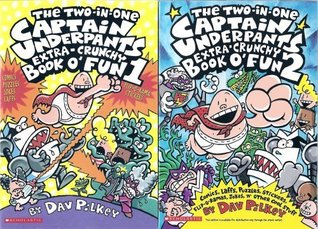 The Captain Underpants Two-in-One Extra-Crunchy Book o' Fun 1 and 2: Comics, Laffs, Puzzles, Sticker