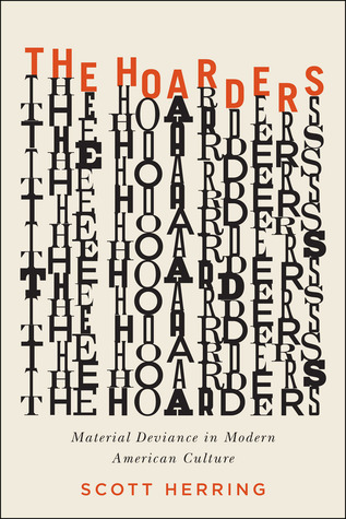"A book cover with the words ""The Hoarders"" written over and over in different fonts and stacked on top of each other"