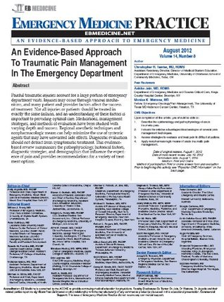 Emergency Medicine Practice: An Evidence-Based Approach To Traumatic Pain Management In The Emergency Department