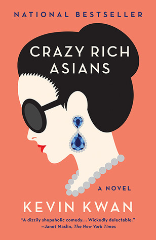 Crazy Rich Asians paperback book cover by Kevin Kwan. Orange background with side view of woman's face.
