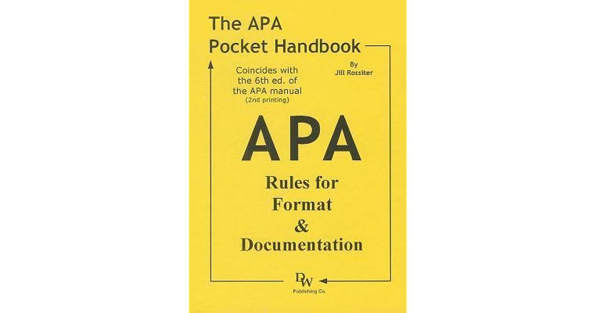 the apa pocket handbook rules for format documentation conforms