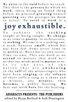 Joy Exhaustible: Assaracus Presents the Publishers